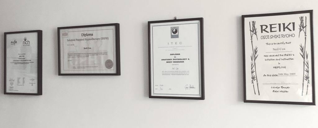 Neil Cox Therapy Certificates Cornwall Bude